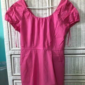 Short hot pink JCrew cotton dress